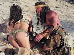 Hot babes Adriana Luna and Cameron Dee make warriors sex fantasies a reality in the desert in hot porn parody. They suck and ride his love bone like crazy in outdoor threesome.
