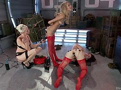 These two young slut recruits are getting a lesson in obedience, as they are tied up and have electrodes strategically placed on their assholes and clits. Lorelei buzzes and zaps them, as they moan and squeal, unable to move. She gets a vibrator out and starts it up, getting those cunts wetter.