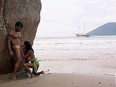 Busty sexy babe Claudia Bella gets her sexy ass and puffy pussy seriously fucked by her horny as hell fuck biddy on the wild beach in Rio They love doing wild things in nature.