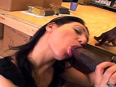 This slim, hot slut has no idea what she's getting into. The company of a horny guy with a big black cock seems to incite her, as she opens her legs wide to show off her peachy cunt. See naughty Victoria Sin down on her knees, sucking dick with dedication!