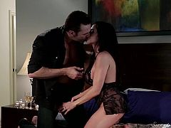 Ariella definitely masters the art of seduction, as the guy that keeps her company seems totally mesmerized by her sensual movements and crazy body. The sexy lingerie she's wearing is a huge turn on, too. Click to watch this dirty brunette milf sucking cock right down to the balls!