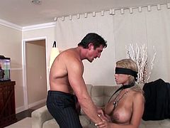 Busty blonde loves riding a cock while blind folded