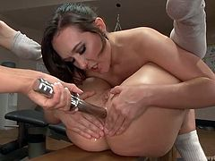 Sage is a busty milf, eager to help her lesbian companions enjoy the moments, spent in her presence. She helps a naughty bitch get aroused, by placing a kinky dildo in her amazing big ass. Click to watch these horny sluts getting dirty!