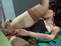 Dark haired sexy lady Kimberly Kane in sheer nylons gives hot blowjob through the bars and then man in mask bangs her wet snatch as hard as possible. Unmissable batman XXX parody!