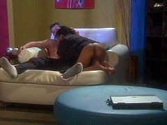Exotic oriental babe Kaylani Lei displays her lovely bare ass ass she turns guy on on the couch. She takes his dick in her eager mouth. he loves the way Kaylani Lei blows!