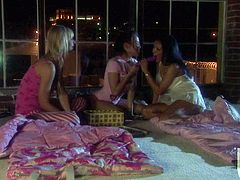Brooke Banner, Maya Gates and Renae Cruz play with vibrator