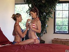 naughty karlie gets fond of a stunning blonde