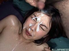 How naughty is to give in to a horny gang of men, all preoccupied to use this brunette Japanese in the dirtiest of ways? The slutty bitch with small tits has nothing else to do, than spread her legs and enjoy the load of cum, covering her naked body and pretty face.