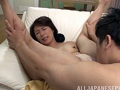 Short haired Japanese wife loves sucking stiff peckers