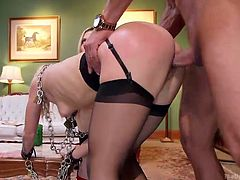A hot blonde with amazing tits is persuaded to offer a kinky blowjob to a horny man. Naughty Christie and slutty Alina are both bonded strongly and have to obey every lusty wish. Watch the hardcore scene!