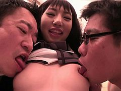 This horny brunette bitch is happy only when guys give her attention. And now it is the right time she'd get it, as she feels extremely horny and ready for a thrilling adventure. See the smiling Japanese slut wearing a kinky outfit and showing off her peachy pussy. The boys get closer to finger her...