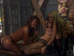 Nikita Denise and Roxy Deville show off their adorable bodies and have kinky lesbian sex. Blonde and brunette both with nice big tits do dirty things for your viewing enjoyment.