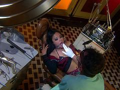 Super sexy asian chick Kaylani Lei in mini-skirt and fishnet stockings gets her incredibly tight exotic pussy banged with no mercy by crazy hard dicked doctor. Kaylani Lei gets treated like a fuck toy.