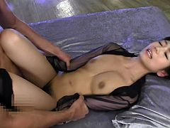 Do you fantasize about lovely Japanese sluts with tight bodies? This horny brunette's beauty could ignite your imagination... See her fucked hard from behind or spreading legs, to show off her hairy cunt, as the atmosphere catches fire!