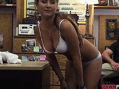 Sexy waitress gets screwed by pawnkeeper to earn extra cash