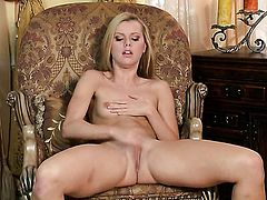 Sex obsessed sex kitten Jessie Rogers with small tities and bald beaver spreads her legs to fuck herself, take dildo in her eager vagina