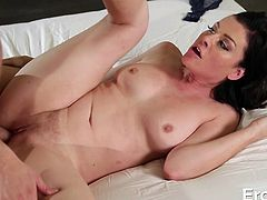 smokey brunette playing dirty with cock