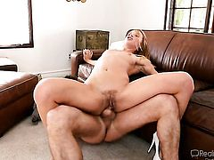 Dangerously seductive seductress Alyssa Branch getting satisfaction with James Deens rod in her horny. hot mouth