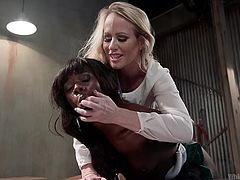 If you like girl on girl kinky action, see a hot milf dominating her ebony companion. The brunette got bonded strongly with ropes. See the blonde mistress fucking Anna from behind with a big black strap on.