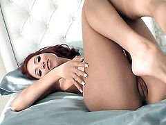 Cydel does striptease before she sticks sex toy in her love box