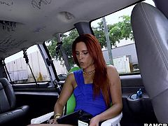 Leggy redhead Danira Love in short blue dress gets interviewed in the back of a car before doing wild things on camera. This lovely sexy next door is an easy chick!