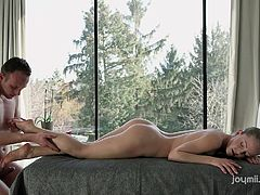 beautiful blonde babe making love with her masseur