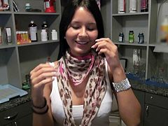 Nice brunette next door Mia Manarote in tight fit white tank top bares her perfect tits with smile on her face for money. Watch sweet chick bare her assets in the back room.