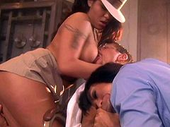 Elegant big titted sexy babe Jenaveve Jolie in stylish hat shares hard dick with another sultry brunette in FFM threesome. Watch two passionate hot blooded women do a guy.