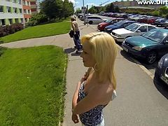 From a respectable girl met on the street, naive Iren becomes an ordinary blonde-haired bitch, eager to suck cock, whenever she gets the occasion... Click to watch the slim lady hiding behind some bushes, to suck a random guy's dick. Have fun!