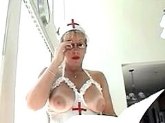 Big tit nurse blowjob and swallow