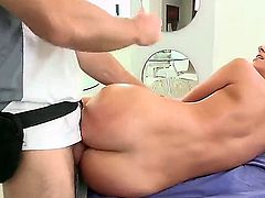 Hot bodied brunette Jada Stevens gets her lovely ass fucked deep and hard after massage. She gets her but drilled in many positions by horny masseur whos cant get enough.