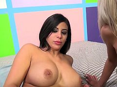 Fake tits ladies make a threesome scene thrilling to watch