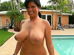 A bbw girl only means huge tits, and this brunette bbw chick has more than huge tits. Shes going to give this dude a really great blowjob that hell never forget in his life
