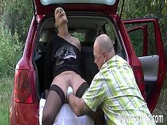 Desperate amateur wife fist fucked by the roadside