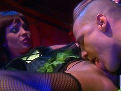 Sultry brunette Kirsten Price in black stockings gets her snatch licked before ti comes to cock riding, She puts her hand son her firm ass as she bounces up and down on lucky dudes throbbing cock.