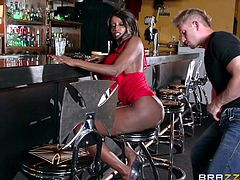 Two attractive milfs are at the bar. Click to watch the busty ebony slut in red dress, sucking dick with exaltation. After her ass is rimmed passionately, she's eager to have exciting anal sex... Black tigress!