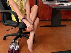 Office girl Blanche Bradburry has beautiful feet