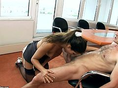 Perverted tall buxom brunette secretary gets properly hammered in office