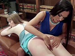 A blonde-haired babe lets her lesbian partner, finger her sweet shaved pussy and slap her crazy ass. Click to see slutty Dolly mouth gagged. The dominant brunette milf is up to more kinky activities. Enjoy!