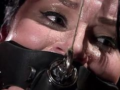 Veruca's punishment involves being put in devices similar to the old torture, devices known as stocks. She is restrained well and her mouth is covered, so her screams of pain and pleasure are completely muffled. Her executor uses a vibrator on her among other things, making her pussy wet and body squirm.