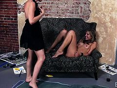 Slutty Chastity is a blonde babe, who runs in Dana's arms... Click to watch these horny lesbians undressing and kissing passionately. The brunette milf finds her companion's pussy very fascinating, so she's tempted to taste it right away. Enjoy!