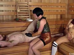 Today the lesson is on edging. The cute masseuse gives this lucky guy a massage in the sauna, because he is feeling sore and tense. The cute young girl is also in sauna and she is playing with her sweet pussy. The lucky guy gets wanked off and his balls rubbed.