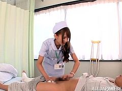 The horny patient can't help noticing the sexy nurse in white uniform and wearing kinky stockings. Click to watch the shy, but naughty Japanese babe spreading legs widely and showing off her hairy cunt. The game involves playing with a vibrator, so don't miss the hot details!
