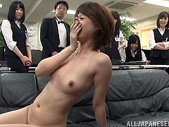 This naughty Japanese babe doesn't look ashamed to get naked in public. What's more, her ecstatic shameless smile proves, that she enjoys sucking cock and getting pounded hard from behind in the same time. Click to convince and have fun!