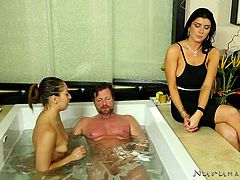 The point of giving a massage, is to give full relaxation to the customer. After all, that's why they came looking for a massage. Romi is constantly with Sara, as she works with her first client, even showing her how to properly suck his cock. She monitors as the massage takes place as well. Watch now!