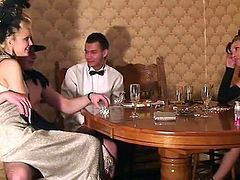 Females and guys Wearing Retro attire inside fucking Party