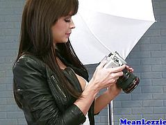 Busty lezdom models dominate photographer