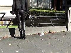 Julie skyhigh in leather outfit hel bootsand belstaff trench