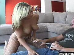 Memphis Monroe is looking as luscious as ever, with her big natural boobs hanging down as she slides her pussy down around Manuels big meat stick. Memphis savors the feeling of his huge cock filling her up completely, and she dives to her knees to take the full force of his cum blast on her cute face.