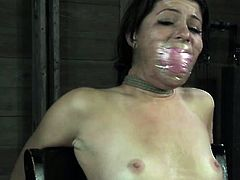 Bonded submissive slut gets electrosex therapy